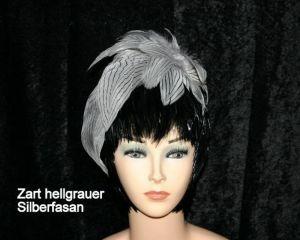 Fascinator zart hellgrauer Silberfasan