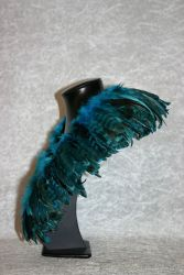 Federkragen Hahnenschlappen chinchilla türkisblau