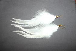 XXL-Federohrringe Hahnenkreuz Weiß / Gold